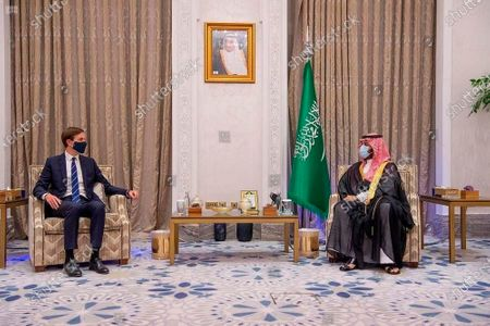 Saudi Crown Prince Mohammed bin Salman, right, meets with Senior Advisor to the U.S. President, Jared Kushner in Riyadh, Saudi Arabia, . Saudi Arabia insists officially that there can be no formal ties with Israel before Palestinian statehood is achieved, but state-backed media and clerics have softened their tone toward Jews and there has been no official condemnation or criticism of the deals signed by the UAE or Bahrain with Israel