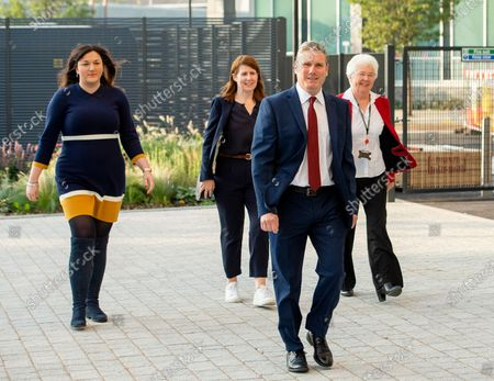 (L-R) MPs Ruth Smeeth and Jenny Chapman, Labour Party leader Keir Starmer and Mayor of Darlington Ros Jones arrive to attend Starmer's first the conference-season Leader's speech at Danum Gallery, Library and Museum in Doncaster, Britain, 22 September 2020.