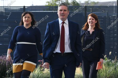 Labour leader Sir Keir Starmer (C) arrives with Ruth Smeeth (L) and his political director Jenny Chapman (R), to deliver his keynote speech during the Labour party's online conference from the Danum Gallery, Library and Museum in Doncaster, Britain, 22 September 2020. Sir Keir will address party members in his first party conference since becoming leader in the wake of its worst defeat in a general election since 1935.