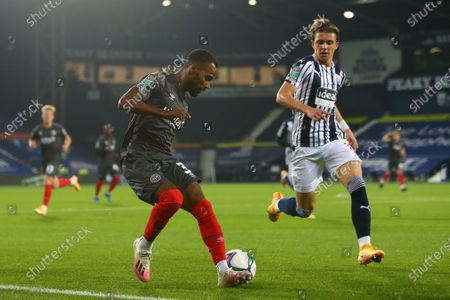 Rico Henry of Brentford and West Brom's Conor Gallagher