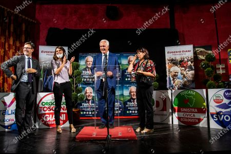 Stock Photo of Mayor of Florence Dario Nardella, Simona Bonafe', Eugenio Giani with wife Angela Guasti during the press conference on the electoral victory in the race for the presidency of the Tuscany Region,