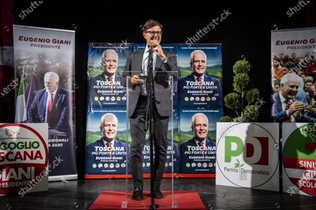 Eugenio Giani celebrates the electoral victory in the race for the presidency of the Tuscany Region, mayor of Florence Dario Nardella comments the results