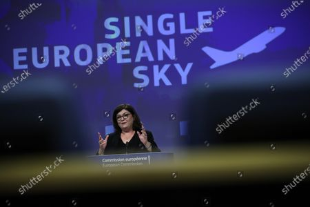 European Commissioner for Transport Adina-Ioana Valean speaks during an online media conference at the European Commission headquarters in Brussels, . The European Commission is proposing an upgrade of the Single European Sky regulatory framework which comes on the heels of the European Green Deal