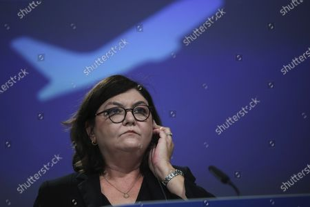 Stock Picture of European Commissioner for Transport Adina-Ioana Valean listens to a question, during an online media conference at the European Commission headquarters in Brussels, . The European Commission is proposing an upgrade of the Single European Sky regulatory framework which comes on the heels of the European Green Deal