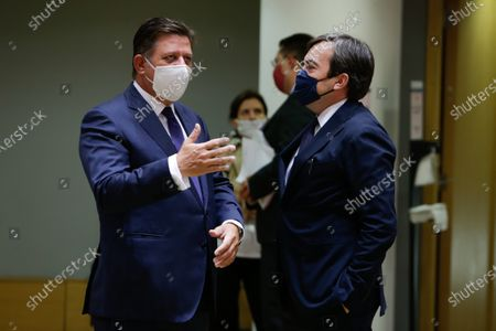 Greek Foreign Affairs Minister in charge of European Affairs, Miltiadis Varvitsiotis (L) speaks with Italian Minister of European Affairs, Vincenzo Amendola (R) during a General Affairs ministers council in Brussels, Belgium, 22 September 2020.