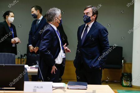 Italian Minister of European Affairs, Vincenzo Amendola, (R) during a General Affairs ministers council in Brussels, Belgium, 22 September 2020.