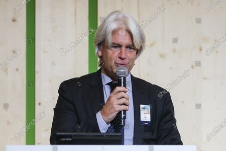 Stock Image of Mark Lewis, Head of Sustainable Development Research at BNP Paribas Asset Management, gives a speech during Nexans climate day held at the GoodPlanet foundation in Paris, France, 22 September 2020. Nexans held its first Climate Day on 22 September. This first edition brings together experts on the enviromental issues of global warming and energy transition and to talk about  sustainable electrification.