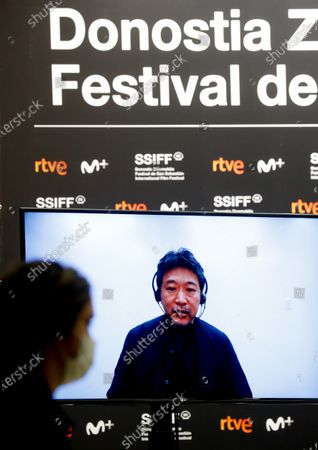 Hirokazu Koreeda speaks through video conference during the presentation press conference of his film 'Nakuko Wa Ineega' in the Official Section of the 68th edition of the San Sebastian International Festival, in San Sebastian, 22 September 2020.