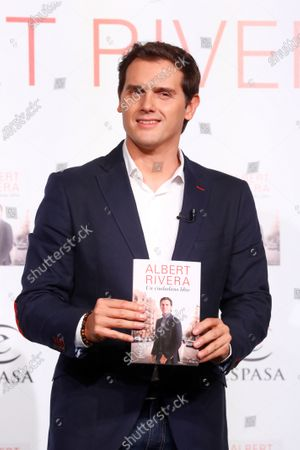 Albert Rivera, former president of Ciudadanos (Citizens) Party, delivers a speech as he presents his book 'A Free Citizen' in Madrid, Spain, 22 September 2020.