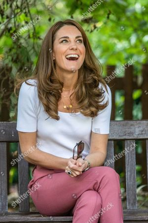 Catherine Duchess of Cambridge spending the day learning about the importance of parent-powered initiatives, hearing from families and key organisations about the ways in which peer support can help boost parent wellbeing. Here, Her Royal Highness in Battersea Park listening directly to parents about their experiences of parent-to-parent support.