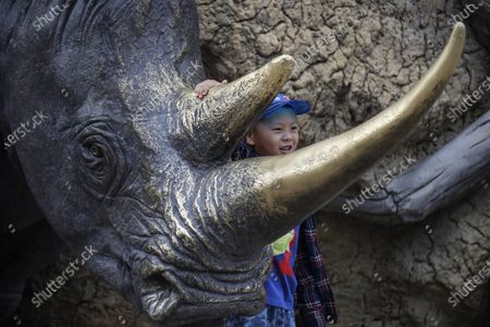 A boy poses for photo with a rhino sculpture at Beijing zoo in Beijing, China, 22 September 2020. China's leading animal protection organizations on 22 September sent an open letter to President Xi Jingping urging the Chinese government to make China the first country in Asia to ban the import of rhino hunting trophies as the World marks the Rhino Day.