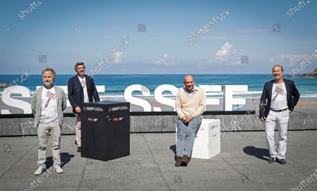Antonio Mendez Esparza (2-R) and producers Pedro Hernandez Santos (L), Alvaro Portanet Hernandez (2-L) and Amado Hernandez Bueno during the presentation of film 'Courtroom H3' at the 68th annual San Sebastian International Film Festival (SSIFF), in San Sebastian, Spain, 22 September 2020. The film festival will run from 18 to 26 September 2020 under safety measures like obligatory face mask use and red carpets without public due to the Covid-19 coronavirus pandemic. Organizers have also reduced the number of film screenings as well as the seating capacity in cinemas.