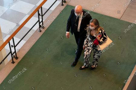 """Stock Image of Russian Ambassador to the United Nations Vassily Nebenzia, right, arrives for the 75th session of the United Nations General Assembly, at U.N. headquarters. This year's annual gathering of world leaders at U.N. headquarters will be almost entirely """"virtual."""" Leaders have been asked to pre-record their speeches, which will be shown in the General Assembly chamber, where each of the 193 U.N. member nations are allowed to have one diplomat present"""