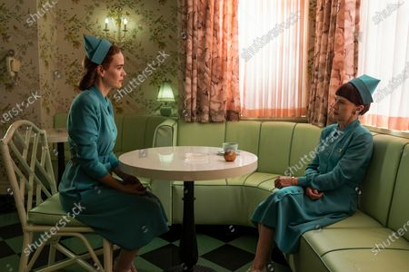 Sarah Paulson as Nurse Mildred Ratched and Judy Davis as Nurse Betsy Bucket