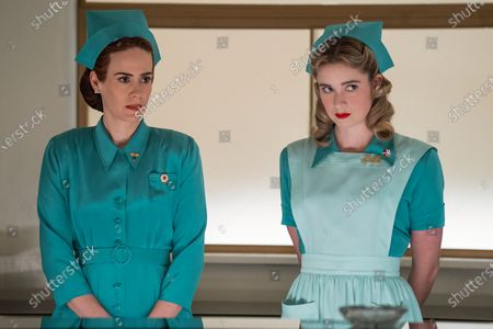 Stock Image of Sarah Paulson as Nurse Mildred Ratched and Alice Englert as Nurse Dolly