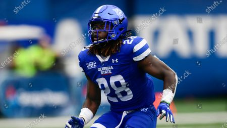 Georgia State safety Chris Moore plays against Louisiana Lafayette during an NCAA football game on in Atlanta