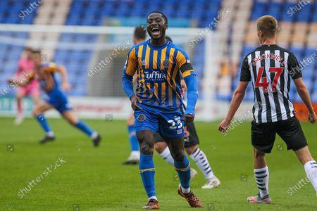 Daniel Udoh of Shrewsbury Town during the EFL Trophy match between Shrewsbury Town and U21 Newcastle United at Greenhous Meadow, Shrewsbury