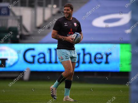 Stock Image of Matt Banahan of Gloucester warms up; Recreation Ground, Bath, Somerset, England; English Premiership Rugby, Bath versus Gloucester.