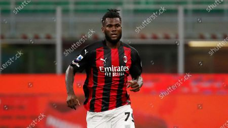 Milan's Franck Kessie controls the ball during the Serie A soccer match between AC Milan and Bologna at the San Siro stadium, in Milan, Italy