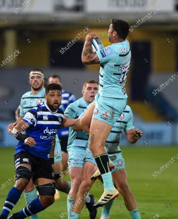 Stock Photo of Matt Banahan of Gloucester Rugby claims the ball in the air