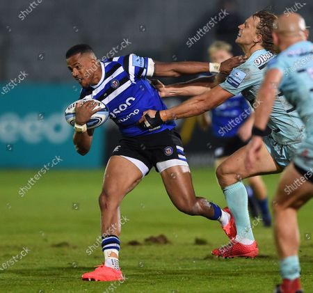 Anthony Watson of Bath Rugby takes on the Gloucester Rugby defence
