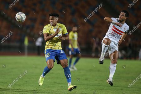 Stock Picture of Zamalek player Tarek Hamed (R) in action against Tanta player Onosh (l) during the Egyptian Premier League soccer match between Zamalek and Tanta, in Cairo, Egypt, 22 September 2020.