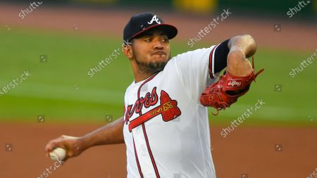 Atlanta Braves' Huascar Ynoa pitches against the Miami Marlins during the first inning of a baseball game, in Atlanta