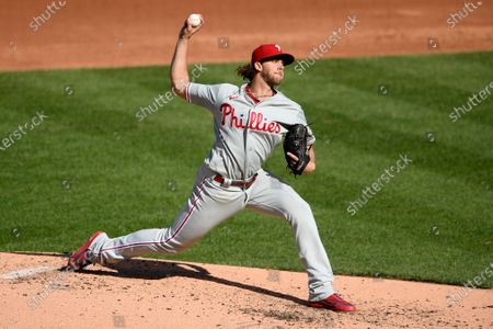 Stock Picture of Philadelphia Phillies starting pitcher Aaron Nola delivers a pitch during the third inning of the first baseball game of a doubleheader against the Washington Nationals, in Washington