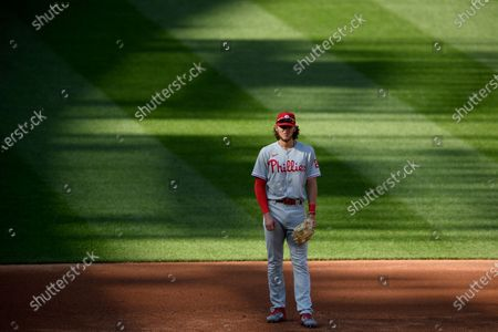 Philadelphia Phillies third baseman Alec Bohm stands on the field during the third inning of the first baseball game of a doubleheader against the Washington Nationals, in Washington
