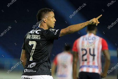 Gabriel Torres of Independiente del Valle celebrates after scoring during the Copa Libertadores Group A match between Colombian club Atletico Junior and Ecuador's Independiente del Valle (IDV), at the Metropolitano stadium in Barranquilla, Colombia, 22 September 2020.