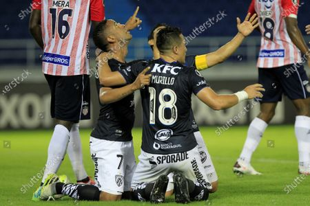 Gabriel Torres (L) from Independiente del Valle celebrates after scoring during the Copa Libertadores Group A match between Colombian club Atletico Junior and Ecuador's Independiente del Valle (IDV), at the Metropolitano stadium in Barranquilla, Colombia, 22 September 2020.