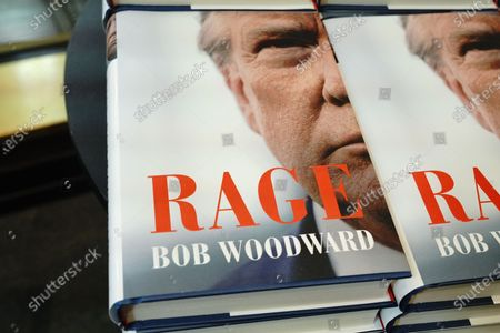 """""""Rage"""" by Bob Woodward is offered for sale at a Barnes & Noble store in New York. The book, based on interviews that Woodward had with President Donald Trump."""