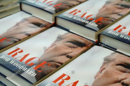 """Stock Image of """"Rage"""" by Bob Woodward is offered for sale at a Barnes & Noble store in New York. The book, based on interviews that Woodward had with President Donald Trump."""