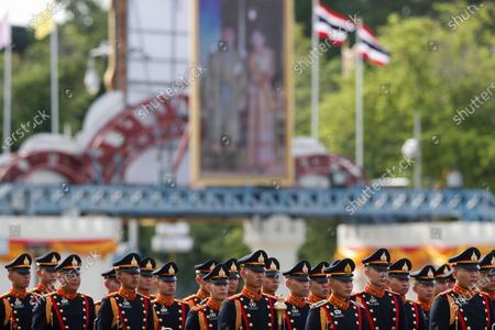 Thai cadets march to honor the Royal Thai Army's generals during their mandatory retirement ceremony at the Royal Thai Army headquarters in Bangkok, Thailand, 23 September 2020. Thai outgoing Army chief General Apirat who has stirred up politics by slamming military opposed politicians and pro-democracy activists during his two years as Thailand's most powerful military figure has been appointed by the King as Deputy of the Lord Chamberlain after his retirement from the Royal Thai Army in the end of September 2020.
