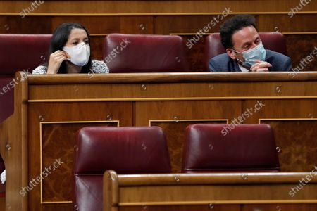 Leader of Spanish Ciudadanos Party, Ines Arrimadas (L), and the party's spokesman at Parliament, Edmundo Bal (R), attend question time at the Lower House in Madrid, Spain, 23 September 2020.