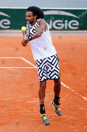 Dustin Brown of Germany in action during his 2nd round qualifying win