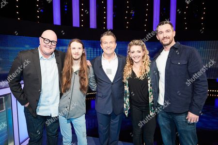 Stock Image of (L-R) Dominic Brunt, James Moore, Bradley Walsh, Louisa Clein and Anthony Quinlan