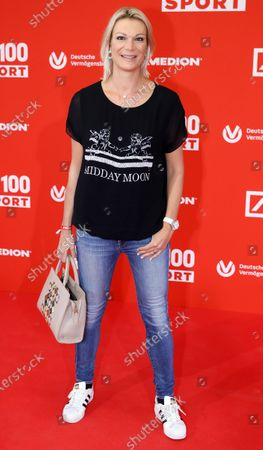 Stock Photo of Retired German alpine skiier Maria Hoefl-Riesch poses on the red carpet during 'Bild100 Sport' in Frankfurt am Main, Germany, 23 September 2020. The event invites 100 of the most important and influential German and international personalities of politics, economics and sport.