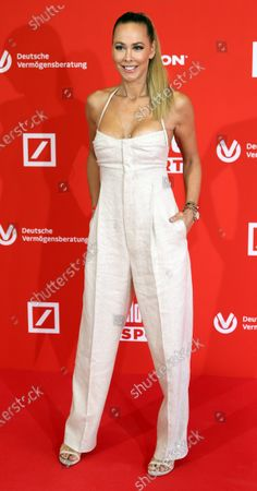 Moderator for Sky channel Sylvia Walker poses on the red carpet during 'Bild100 Sport' in Frankfurt am Main, Germany, 23 September 2020. The event invites 100 of the most important and influential German and international personalities of politics, economics and sport.