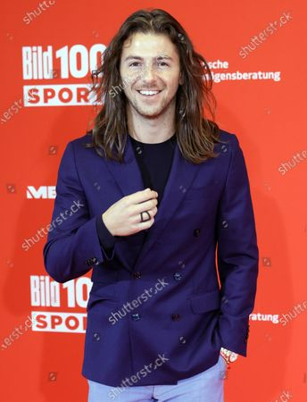 Moderator of Sky channel Riccardo Basile poses on the red carpet during 'Bild100 Sport' in Frankfurt am Main, Germany, 23 September 2020. The event invites 100 of the most important and influential German and international personalities of politics, economics and sport.