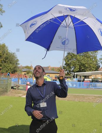 Headmaster Paul McCarthy  of the Minster Church of England Primary Out In Playground of his school protecting the Children from Being attacked By Stephen The Seagull