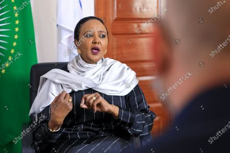 Stock Photo of Kenyan Sports Minister and Kenya's candidate for World Trade Organisation (WTO) Director-General Amina Mohamed during an interview with EFE, at her office in Nairobi, Kenya, 16 September 2020 (issued 23 September 2020). On 18 September 2020, Mohamed qualified for the next round in the race to head the WTO.