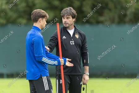 FC Basel's head coach Ciriaco Sforza (R) and captain Valentin Stocker (L) during a training session in Basel, Switzerland, 23 September 2020. Switzerland's FC Basel 1893 will face Cyprus' Anorthosis Famagusta FC in the UEFA Europa League third qualifying round soccer match on 24 September.