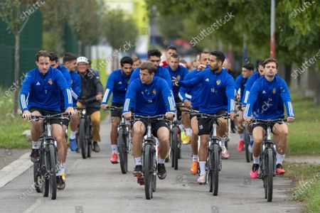 (L-R) FC Basel's players with Luca Zuffi, Fabian Frei, Samuele Campo and Valentin Stocker during a training session in Basel, Switzerland, 23 September 2020. Switzerland's FC Basel 1893 will face Cyprus' Anorthosis Famagusta FC in the UEFA Europa League third qualifying round soccer match on 24 September.