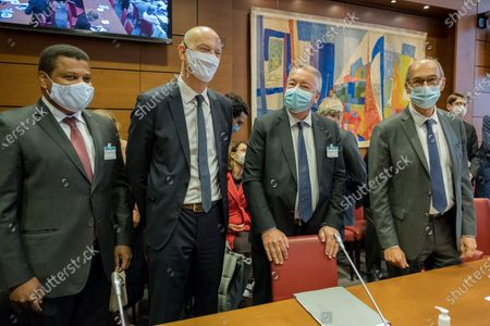 Antoine Frerot, CEO of Veolia, and Thierry Deau, founder and chairman of Meridiam, at the start of their hearing concerning the possible merger between Suez and Veolia before the delegation to local authorities and decentralization, together with the commission of Finances and the Economic Affairs Committee, alongside Eric Woerth, Chairman of the Finance Committee.