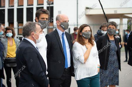 (L-R) Francis Szpiner, mayor of the 16th arrondissement of Paris, Tony Estanguet, Jean-Michel Blanquer, Roxana Maracineanu.
