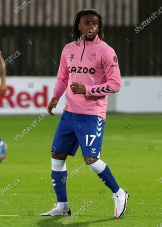 Alex Iwobi of Everton warms up before the kick off; Highbury Stadium, Fleetwood, Lancashire, England; English Football League Cup, Carabao Cup Football, Fleetwood Town versus Everton.