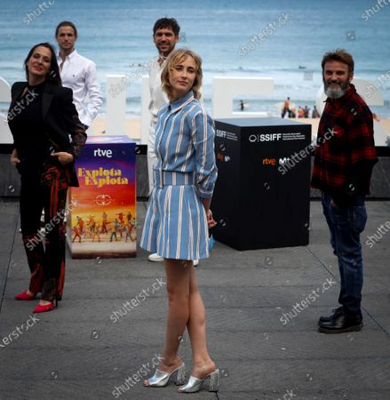 Stock Picture of Ingrid Garcia Johnson (C, front), Spanish film director Nacho Alvarez (C, back) and Spanish actors Natalia Millan (L), Fernando Tejero (R) and Fran Morcillo (2-L) attend a photocall for their movie 'Explota explota,' presented in the official section at the 68th annual San Sebastian International Film Festival (SSIFF), in San Sebastian, Spain, 23 September 2020. The film festival runs from 18 to 26 September 2020 under safety measures like obligatory face mask use and red carpets without public due to the Covid-19 coronavirus pandemic. Organizers have also reduced the number of film screenings as well as the seating capacity in cinemas.