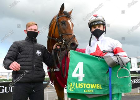 LISTOWEL 24-September-2020. BARON SAMEDI and Dylan Browne McMonagle with groom Daniel Fiddis after their 4th win in row for trainer Joseph O'Brien.