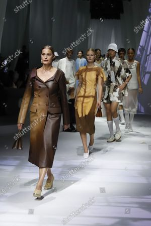 Stock Image of Model Yasmin Le Bon wears a creation as part of the Fendi 2021 women's spring-summer ready-to-wear collection during the Milan's fashion week in Milan, Italy